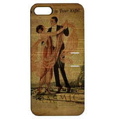 Vintage Paris Eiffel Tower Elegant Dancing Waltz Dance Couple  Apple Iphone 5 Hardshell Case With Stand by chicelegantboutique