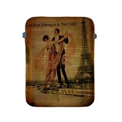 Vintage Paris Eiffel Tower Elegant Dancing Waltz Dance Couple  Apple Ipad 2/3/4 Protective Soft Case by chicelegantboutique