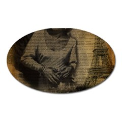 Romantic Kissing Couple Love Vintage Paris Eiffel Tower Magnet (oval)