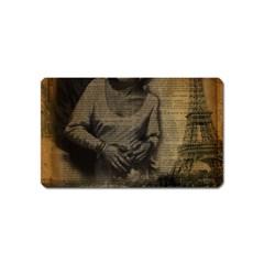 Romantic Kissing Couple Love Vintage Paris Eiffel Tower Magnet (name Card) by chicelegantboutique