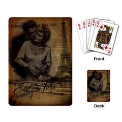 Romantic Kissing Couple Love Vintage Paris Eiffel Tower Playing Cards Single Design by chicelegantboutique