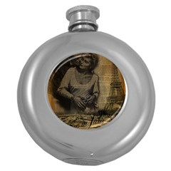 Romantic Kissing Couple Love Vintage Paris Eiffel Tower Hip Flask (round) by chicelegantboutique