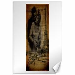 Romantic Kissing Couple Love Vintage Paris Eiffel Tower Canvas 24  X 36  (unframed) by chicelegantboutique