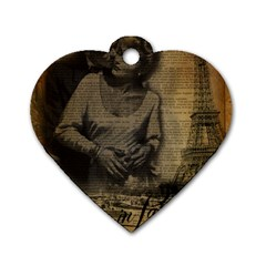 Romantic Kissing Couple Love Vintage Paris Eiffel Tower Dog Tag Heart (one Sided)  by chicelegantboutique