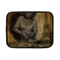 Romantic Kissing Couple Love Vintage Paris Eiffel Tower Netbook Case (small) by chicelegantboutique