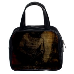Romantic Kissing Couple Love Vintage Paris Eiffel Tower Classic Handbag (two Sides)