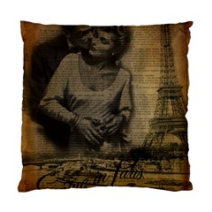 Romantic Kissing Couple Love Vintage Paris Eiffel Tower Cushion Case (single Sided)
