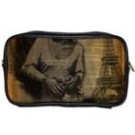 Romantic Kissing Couple Love Vintage Paris Eiffel Tower Travel Toiletry Bag (One Side) Front