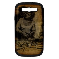 Romantic Kissing Couple Love Vintage Paris Eiffel Tower Samsung Galaxy S Iii Hardshell Case (pc+silicone) by chicelegantboutique