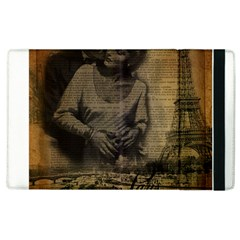 Romantic Kissing Couple Love Vintage Paris Eiffel Tower Apple Ipad 2 Flip Case by chicelegantboutique