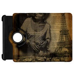 Romantic Kissing Couple Love Vintage Paris Eiffel Tower Kindle Fire Hd 7  Flip 360 Case