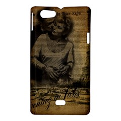 Romantic Kissing Couple Love Vintage Paris Eiffel Tower Sony Xperia Miro Hardshell Case  by chicelegantboutique