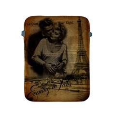 Romantic Kissing Couple Love Vintage Paris Eiffel Tower Apple Ipad 2/3/4 Protective Soft Case by chicelegantboutique