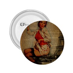 Vintage Newspaper Print Pin Up Girl Paris Eiffel Tower Funny Vintage Retro Nurse  2 25  Button by chicelegantboutique