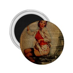 Vintage Newspaper Print Pin Up Girl Paris Eiffel Tower Funny Vintage Retro Nurse  2 25  Button Magnet by chicelegantboutique