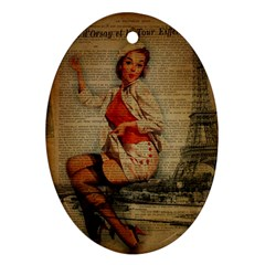 Vintage Newspaper Print Pin Up Girl Paris Eiffel Tower Funny Vintage Retro Nurse  Oval Ornament by chicelegantboutique