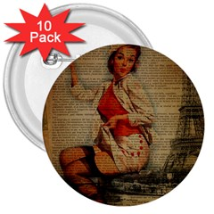 Vintage Newspaper Print Pin Up Girl Paris Eiffel Tower Funny Vintage Retro Nurse  3  Button (10 Pack) by chicelegantboutique