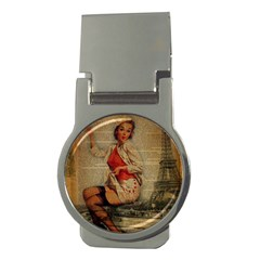 Vintage Newspaper Print Pin Up Girl Paris Eiffel Tower Funny Vintage Retro Nurse  Money Clip (round) by chicelegantboutique