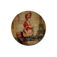 Vintage Newspaper Print Pin Up Girl Paris Eiffel Tower Funny Vintage Retro Nurse  Magnet 3  (round) by chicelegantboutique