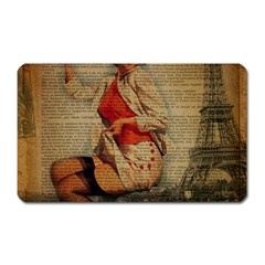 Vintage Newspaper Print Pin Up Girl Paris Eiffel Tower Funny Vintage Retro Nurse  Magnet (rectangular) by chicelegantboutique