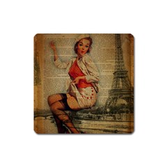 Vintage Newspaper Print Pin Up Girl Paris Eiffel Tower Funny Vintage Retro Nurse  Magnet (square) by chicelegantboutique