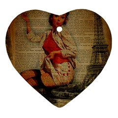 Vintage Newspaper Print Pin Up Girl Paris Eiffel Tower Funny Vintage Retro Nurse  Heart Ornament (two Sides)