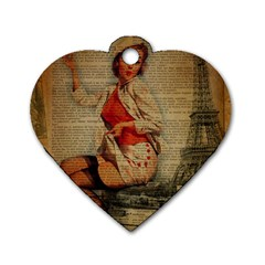 Vintage Newspaper Print Pin Up Girl Paris Eiffel Tower Funny Vintage Retro Nurse  Dog Tag Heart (one Sided)  by chicelegantboutique