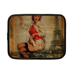 Vintage Newspaper Print Pin Up Girl Paris Eiffel Tower Funny Vintage Retro Nurse  Netbook Case (small) by chicelegantboutique