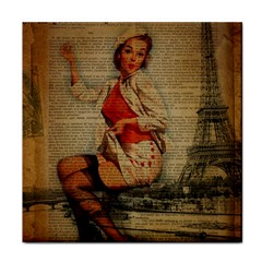 Vintage Newspaper Print Pin Up Girl Paris Eiffel Tower Funny Vintage Retro Nurse  Face Towel by chicelegantboutique