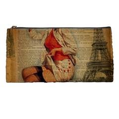 Vintage Newspaper Print Pin Up Girl Paris Eiffel Tower Funny Vintage Retro Nurse  Pencil Case by chicelegantboutique
