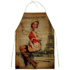 Vintage Newspaper Print Pin Up Girl Paris Eiffel Tower Funny Vintage Retro Nurse  Apron by chicelegantboutique
