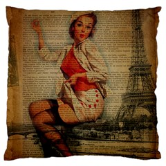 Vintage Newspaper Print Pin Up Girl Paris Eiffel Tower Funny Vintage Retro Nurse  Large Cushion Case (two Sided)  by chicelegantboutique