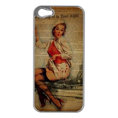 Vintage Newspaper Print Pin Up Girl Paris Eiffel Tower Funny Vintage Retro Nurse  Apple Iphone 5 Case (silver) by chicelegantboutique