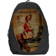 Vintage Newspaper Print Pin Up Girl Paris Eiffel Tower Funny Vintage Retro Nurse  Backpack Bag by chicelegantboutique