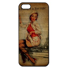 Vintage Newspaper Print Pin Up Girl Paris Eiffel Tower Funny Vintage Retro Nurse  Apple Iphone 5 Seamless Case (black) by chicelegantboutique