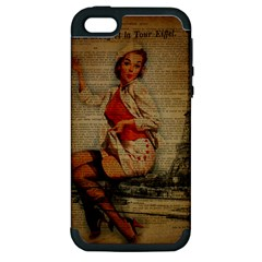Vintage Newspaper Print Pin Up Girl Paris Eiffel Tower Funny Vintage Retro Nurse  Apple Iphone 5 Hardshell Case (pc+silicone) by chicelegantboutique