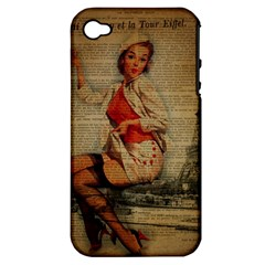 Vintage Newspaper Print Pin Up Girl Paris Eiffel Tower Funny Vintage Retro Nurse  Apple Iphone 4/4s Hardshell Case (pc+silicone) by chicelegantboutique