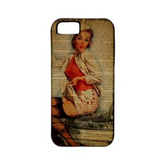 Vintage Newspaper Print Pin Up Girl Paris Eiffel Tower Funny Vintage Retro Nurse  Apple Iphone 5 Classic Hardshell Case (pc+silicone) by chicelegantboutique