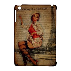 Vintage Newspaper Print Pin Up Girl Paris Eiffel Tower Funny Vintage Retro Nurse  Apple Ipad Mini Hardshell Case (compatible With Smart Cover) by chicelegantboutique