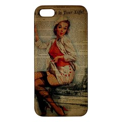 Vintage Newspaper Print Pin Up Girl Paris Eiffel Tower Funny Vintage Retro Nurse  Iphone 5 Premium Hardshell Case by chicelegantboutique