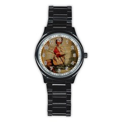 Vintage Newspaper Print Pin Up Girl Paris Eiffel Tower Funny Vintage Retro Nurse  Sport Metal Watch (black) by chicelegantboutique