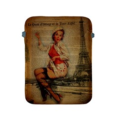Vintage Newspaper Print Pin Up Girl Paris Eiffel Tower Funny Vintage Retro Nurse  Apple Ipad 2/3/4 Protective Soft Case by chicelegantboutique