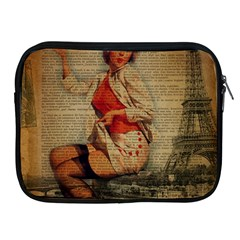 Vintage Newspaper Print Pin Up Girl Paris Eiffel Tower Funny Vintage Retro Nurse  Apple Ipad 2/3/4 Zipper Case by chicelegantboutique