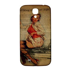 Vintage Newspaper Print Pin Up Girl Paris Eiffel Tower Funny Vintage Retro Nurse  Samsung Galaxy S4 I9500/i9505  Hardshell Back Case by chicelegantboutique