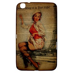 Vintage Newspaper Print Pin Up Girl Paris Eiffel Tower Funny Vintage Retro Nurse  Samsung Galaxy Tab 3 (8 ) T3100 Hardshell Case  by chicelegantboutique