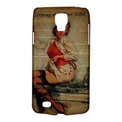 Vintage Newspaper Print Pin Up Girl Paris Eiffel Tower Funny Vintage Retro Nurse  Samsung Galaxy S4 Active (i9295) Hardshell Case by chicelegantboutique