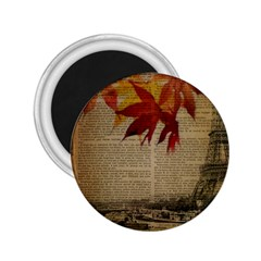 Elegant Fall Autumn Leaves Vintage Paris Eiffel Tower Landscape 2 25  Button Magnet by chicelegantboutique