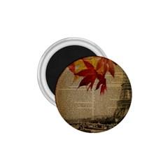Elegant Fall Autumn Leaves Vintage Paris Eiffel Tower Landscape 1 75  Button Magnet by chicelegantboutique