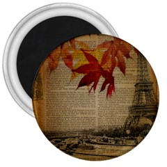 Elegant Fall Autumn Leaves Vintage Paris Eiffel Tower Landscape 3  Button Magnet by chicelegantboutique