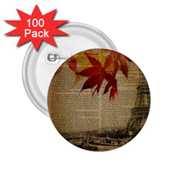 Elegant Fall Autumn Leaves Vintage Paris Eiffel Tower Landscape 2 25  Button (100 Pack) by chicelegantboutique